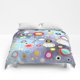 Nebulous Blue abstract circles Comforters