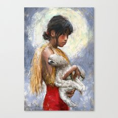Amazonian girl and her sloth Canvas Print
