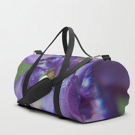 Fluid Nature - Green Jewel In Purple Flower Duffle Bag