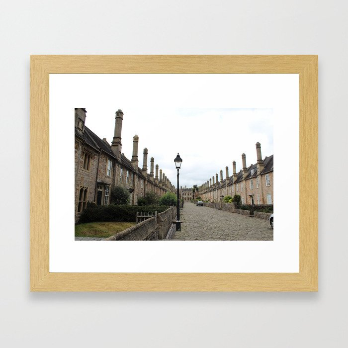 Wells Cathedral Classic/historic/old houses and side street in England Framed Art Print