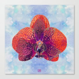 Watercolor Orchid Portrait #2 | Floral Art Print | Scarlet Purple Canvas Print