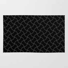 Black and Grey Wimbledon Tennis Ball Repeating Pattern Rug