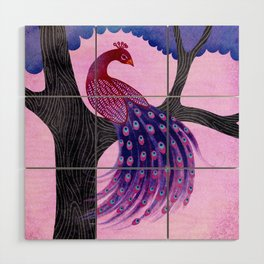 Peacock in the tree Wood Wall Art