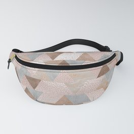 Copper and Blush Rose Gold Marble Triangles Fanny Pack