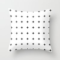 Throw Pillows featuring Black Plus on White /// www.pencilmeinstationery.com by Pencil Me In ™