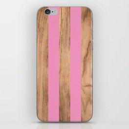 Wood Grain Stripes Pink #787 iPhone Skin