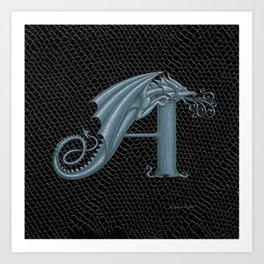 Dragon Letter A, from Dracoserific, a font full of Dragons. Art Print