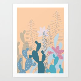 Blue Cacti Garden #Society6 #buyart #decor Art Print