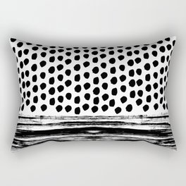 Zoe - Black and white dots, stripes, painted, painterly, hand-drawn, bw, monochrome trendy design Rectangular Pillow
