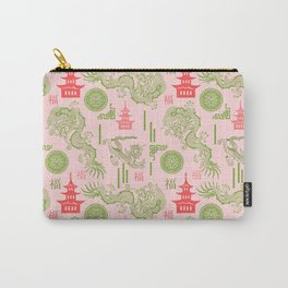 Pink and Green Chinoiserie Carry-All Pouch
