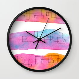 Love Is Always There line ink watercolor abstract painting minimal  Wall Clock
