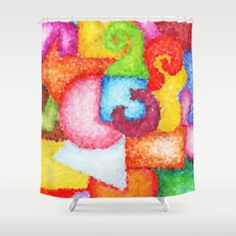 Shapes- Cubist Style Shower Curtain