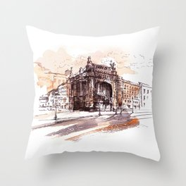 Art Nouveau building / watercolor and ink. Throw Pillow