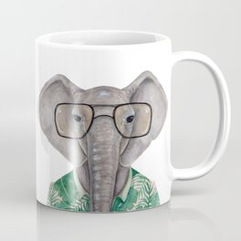 E is for an Elephant in Eyeglasses | Watercolor Tropical Elephant Coffee Mug