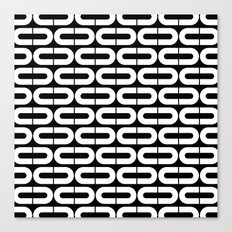 Contemporary Black and White Split Ovals Pattern Canvas Print