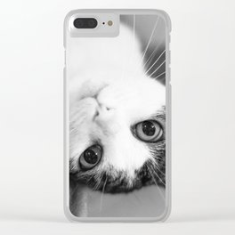 Upside down cat Clear iPhone Case