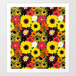 Retro Fall Flowers Art Print