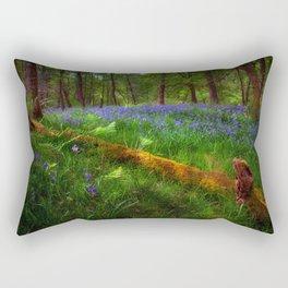 Bluebells and a fallen tree Rectangular Pillow