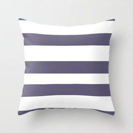 VA Mystical Purple - Metropolis Lilac - Dried Lilacs Hand Drawn Fat Horizontal Lines on White Throw Pillow