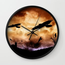 Crows and clouds Wall Clock