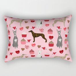 Whippet valentines day cupcakes love hearts dog breed pet portrait whippets pure breed dog gifts Rectangular Pillow