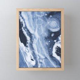 Marble Ice Indigo Framed Mini Art Print