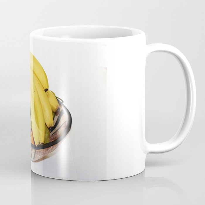 Fruit in a Wooden Bowl, Banana, orange, Pear, Plum Coffee Mug