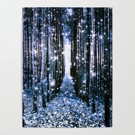 Magical Forest Dark Blue Elegance Poster