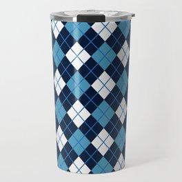 Blue White Argyle Travel Mug