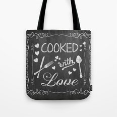 Cooked with Love Retro Chalkboard Sign Tote Bag