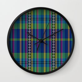 emerald and navy dobbie plaid Wall Clock