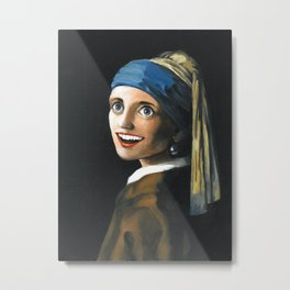 Overly Attached Pearl Earring Metal Print