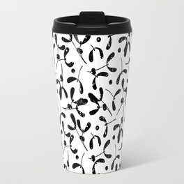 Rustic Mistletoe White and Black Travel Mug