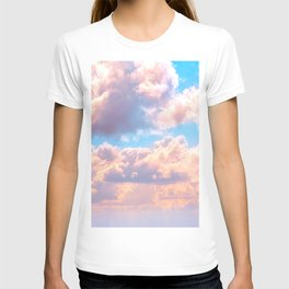 Beautiful Pink Cotton Candy Clouds Against Baby Blue Sky Fairytale Magical Sky T-shirt