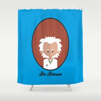 mcfly Shower Curtains featuring Dr Brown by Juliana Motzko