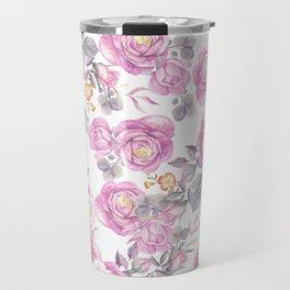 Elegant pink gray watercolor botanical roses flowers Travel Mug