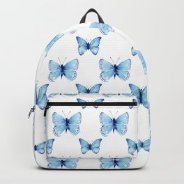 Blue Butterflies Pattern Butterfly Watercolor Backpack