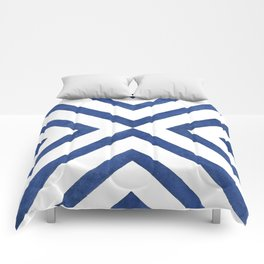 Geometrical modern navy blue watercolor abstract pattern Comforters