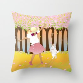 Dancing in the spring Throw Pillow