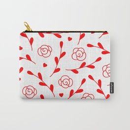 Valentine's Day Vibrant Red Flowers And Leaves Pattern Carry-All Pouch