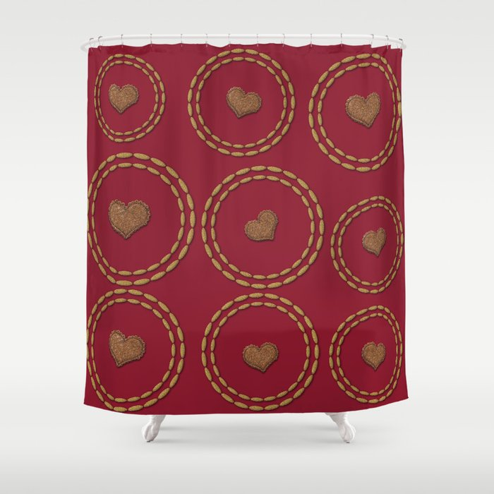 Burgundy Gold Heart Pattern Shower Curtain By Technonl