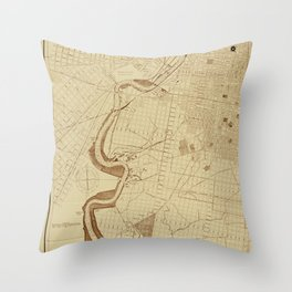 Map of Philadelphia 1892 Throw Pillow
