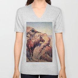 """Frederic Remington Western Art """"Apache Ambush"""" Unisex V-Neck"""