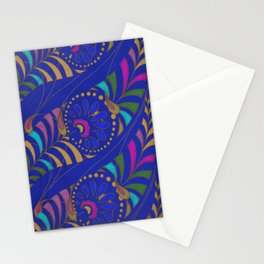 Caravan Ornamental Pattern:  Stylized feather or paisley in hot colors on indigo blue Stationery Cards