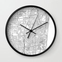 Fort Lauderdale White Map Wall Clock