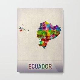 Ecuador Map in Watercolor Metal Print