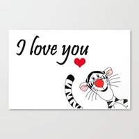 tigger Canvas Prints featuring Tigger Love by BlackBlizzard