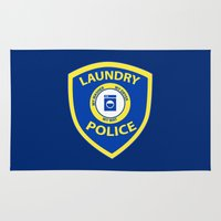 police Area & Throw Rugs featuring Laundry Police by Julie Luke