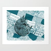hobbes Art Prints featuring Blue Hobbes by Maritsa Patrinos