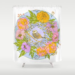 Spring Chickadee in Flowery Woodland Wreath Shower Curtain